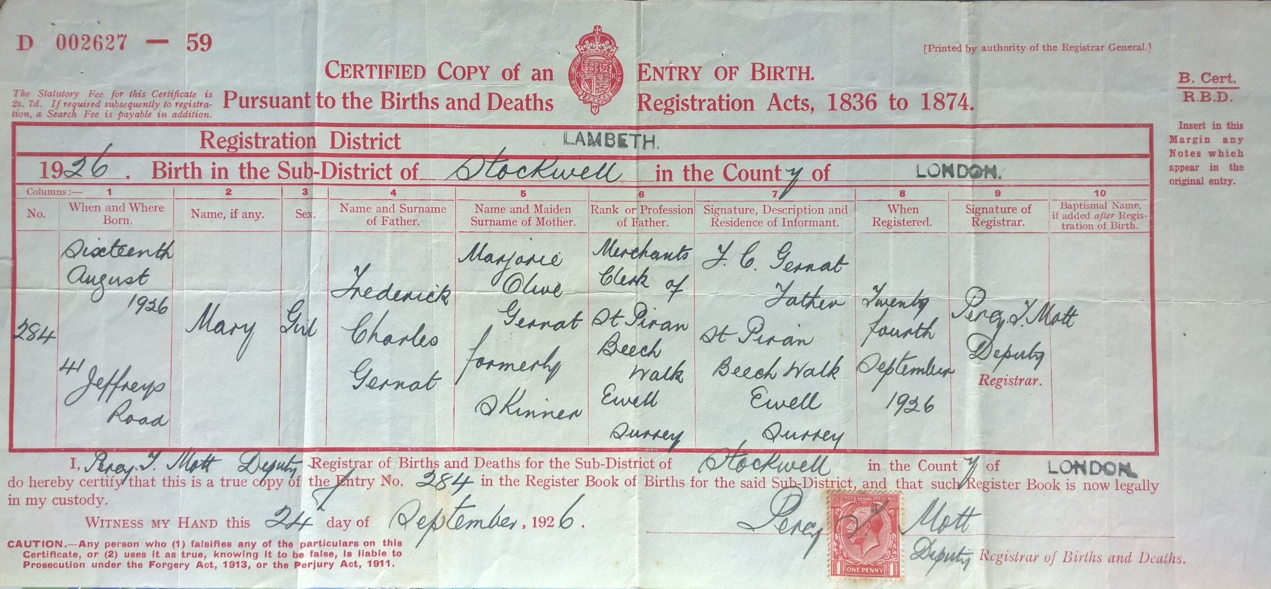 Certificates birth birth certificate mary gernat b1926 how certificates birth birth certificate mary gernat b1926 how family tree aiddatafo Image collections